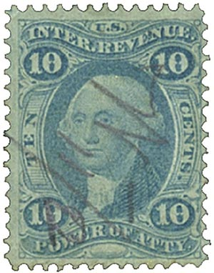 1862-71 10c Blue, Power of Attorney, old paper