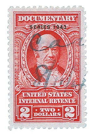 1943 $2 car, rev, dl wmk, perf 11