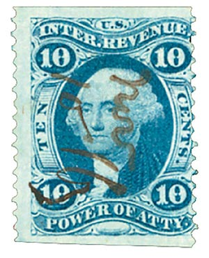 1862-71 10c Blue, Power of Attorney, Part perf.