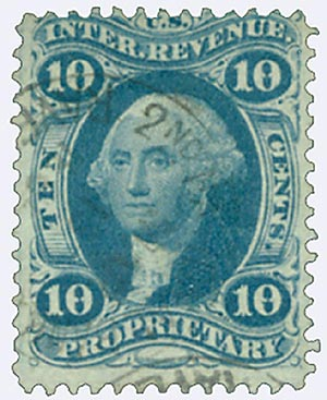 1862-71 10c blue, proprietary, old paper