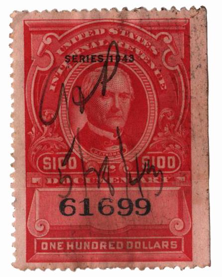 1943 $100 car,rev, no gum, perf 12