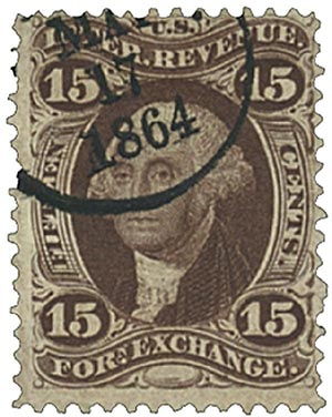 1862-71 15c brn, forn exchg, old paper