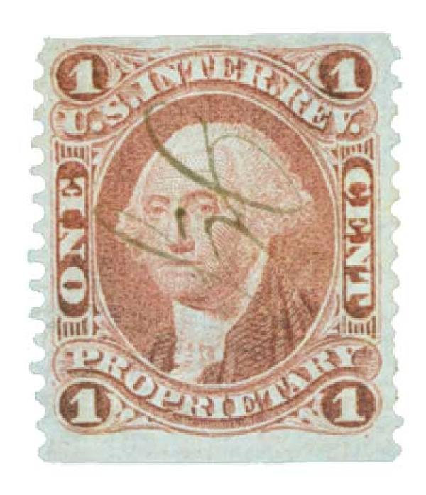 1862-71 1c red, proprietary, part perf