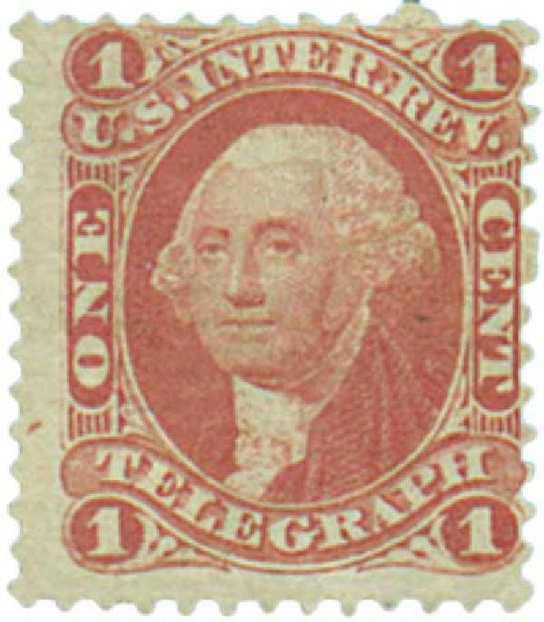 1862-71 1c red, telegraph, old paper