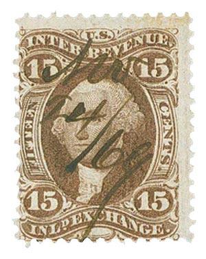 1862-71 15c brn, inld exchg, old paper