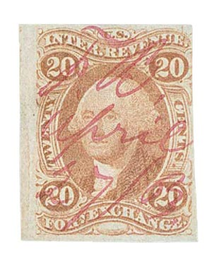 1862-71 20c red, forn exchg, imperf