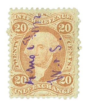 1862-71 20c red, inld exchg, old paper