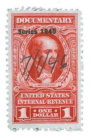 1945 $1 car, rev, dl wmk, perf 11