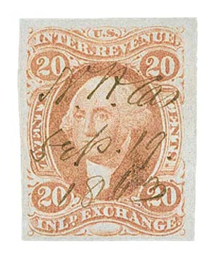 1862-71 20c red, inld exchg, imperf