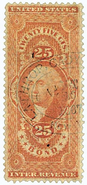 1862-71 25c red, bond, old paper