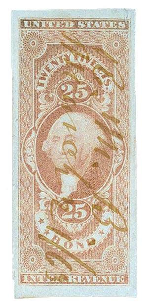 1862-71 25c red, bond, imperf