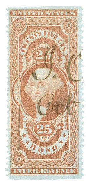 1862-71 25c red, bond, part perf