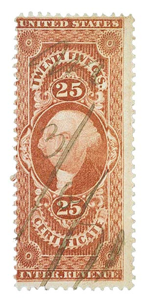 1862-71 25c red, certificate,old paper