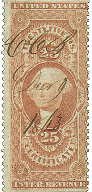 1862-71 25c red, certificate,part perf