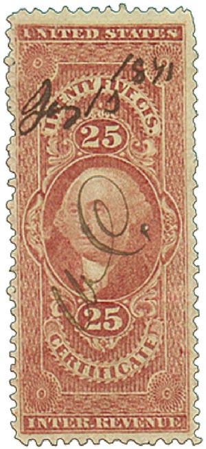 1862-71 25c red, certificate,silk paper