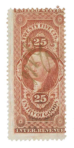 1862-71 25c red, ent of goods,old paper