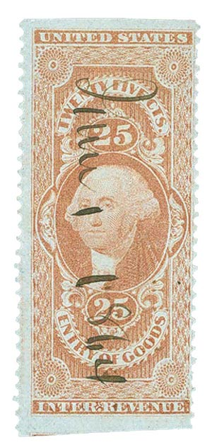 1862-71 25c red,ent of goods, part perf