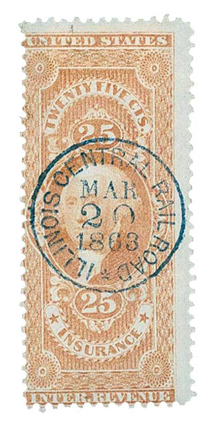 1862-71 25c red, insurance, old paper