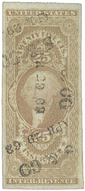 1862-71 25c red, insurance, imperf