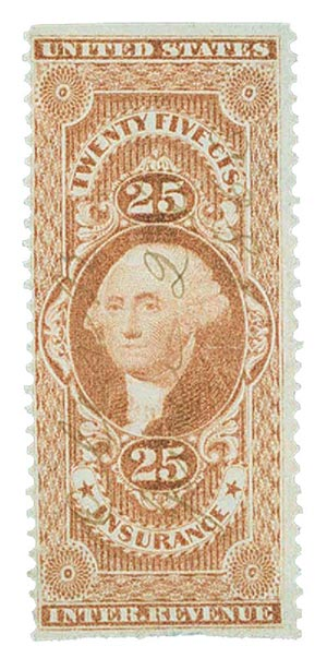 1862-71 25c red, insurance, part perf