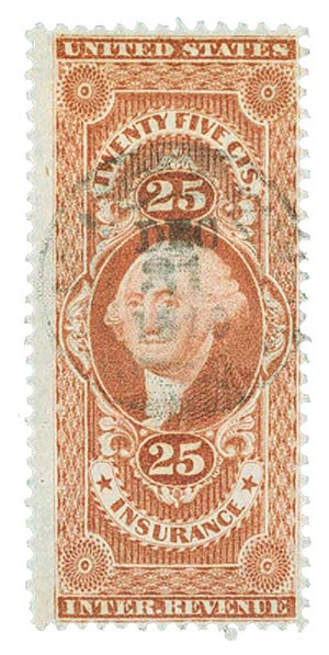 1862-71 25c red, insurance,silk paper