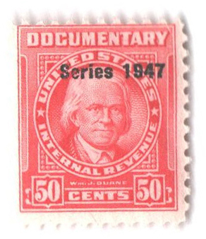 1947 50c Carmine, Revenue, Double Line Watermark, Perf 11