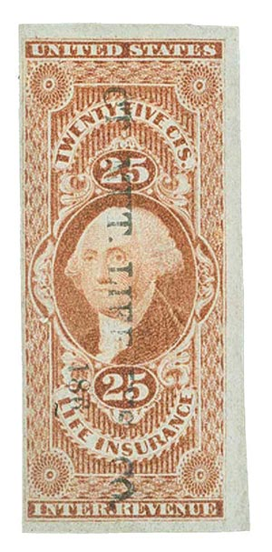1862-71 25c red, life ins, imperf