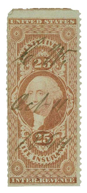 1862-71 25c red, life ins, part perf