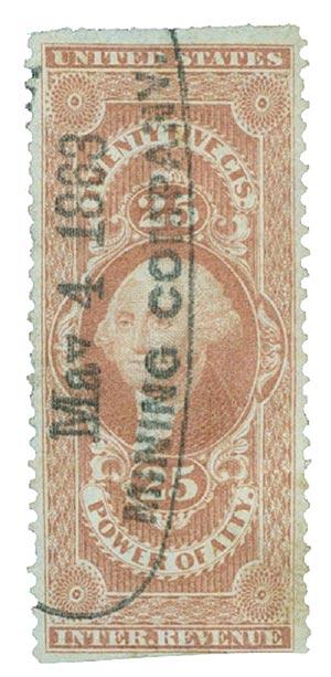 1862-71 25c red,power of att,part perf