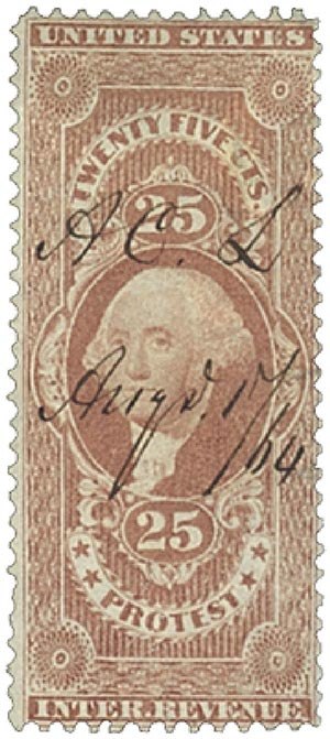 1862-71 25c red, protest, old paper