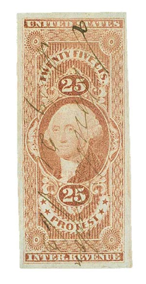 1862-71 25c red, protest, imperf
