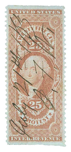 1862-71 25c red, protest,part perf