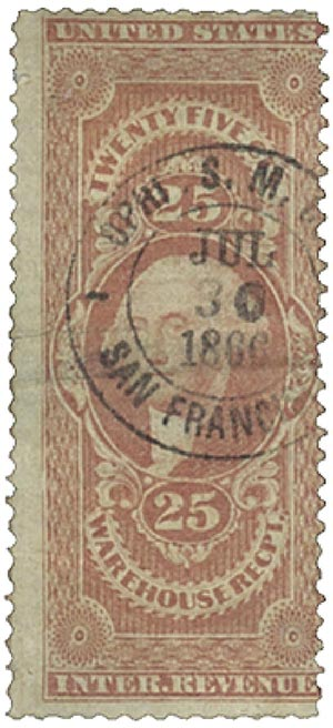 1862-71 25c red,warehse rec,old paper