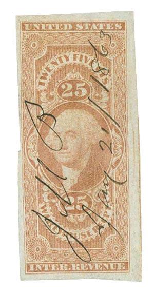 1862-71 25c red,warehse rec, imperf