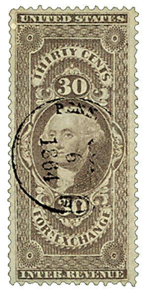 1862-71 30c lil forn exchg,old paper