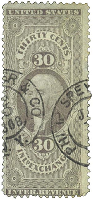 1862-71 30c lil,inld exchg, old paper