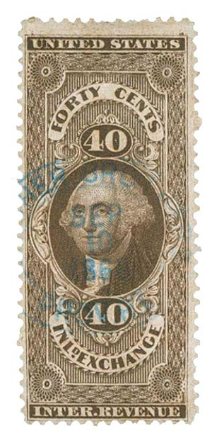 1862-71 40c brn,inld exchg,old paper