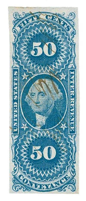 1862-71 50c bl, conveyance,imperf