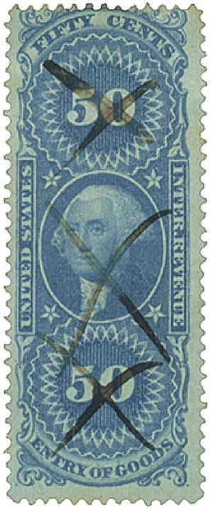 1862-71 50c bl,ent of goods,old paper