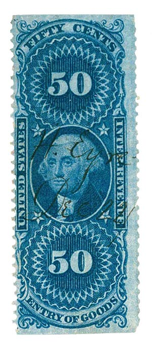 1862-71 50c bl, ent of goods,part perf