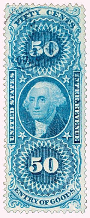 1862-71 50c bl,ent of goods,silk paper
