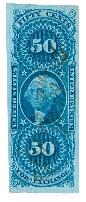 1862-71 50c bl,forn exchg, imperf