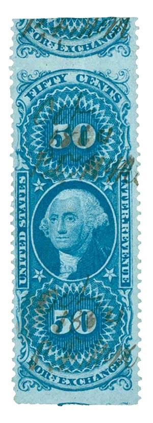 1862-71 50c bl,forn exchg,part perf