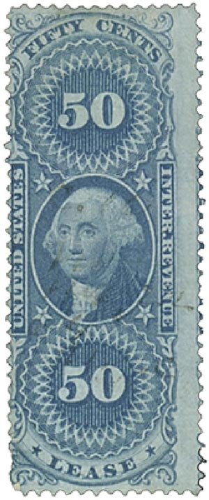 1862-71 50c bl, lease, old paper