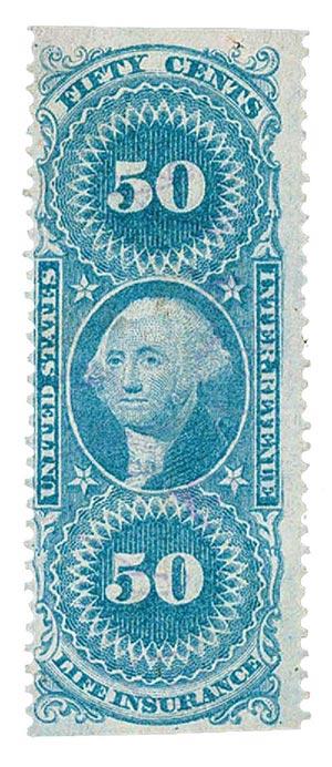 1862-71 50c bl,life ins,part perf