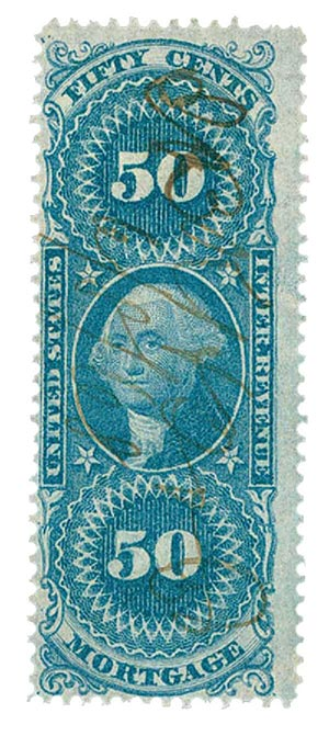 1862-71 50c bl, mortgage,old paper