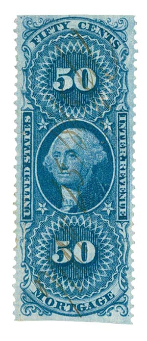 1862-71 50c bl,mortgage, part perf