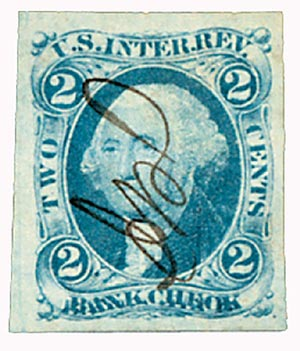 1862-71 2c bl, bank check, imperf