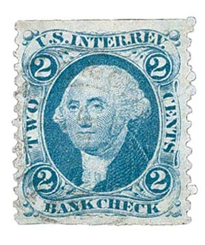 1862-71 2c blue, bank check, part perf.