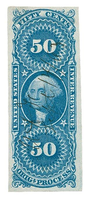1862-71 50c bl, orig proc, imperf